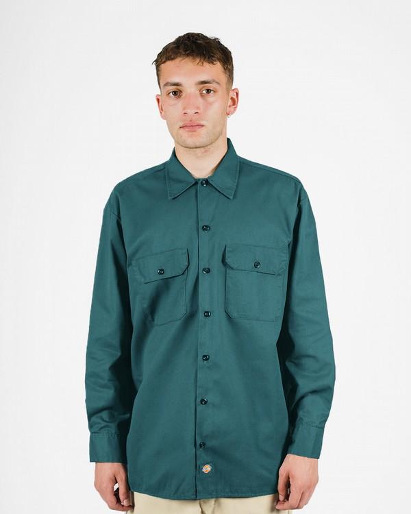 Dickies Mens Lincoln Green Long Sleeve Work Shirt Uniform Button Up Casual 574